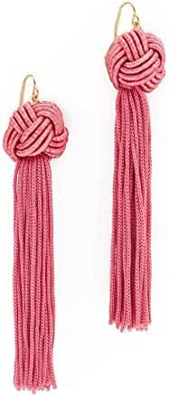 Vanessa Mooney Astrid Knotted Tassel Earrings Pink Earring