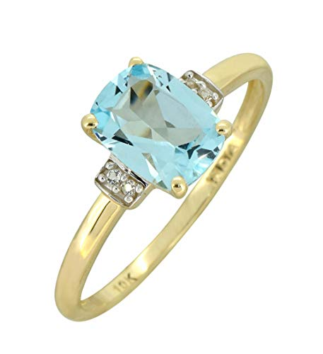 YoTreasure 1.50 Ct. Sky Blue Topaz Solid 10K Yellow Gold Gemstone Princess Ring
