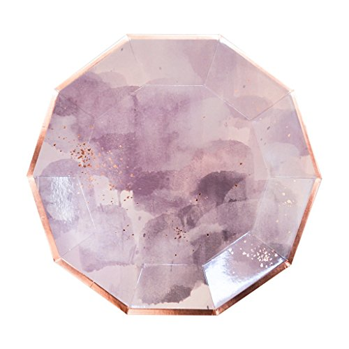 (Light Purple Watercolor w Rose Gold Large Paper Plates - Birthday, Wedding, Showers Disposable Party Plates - Harlow & Grey Amethyst (8 Count))