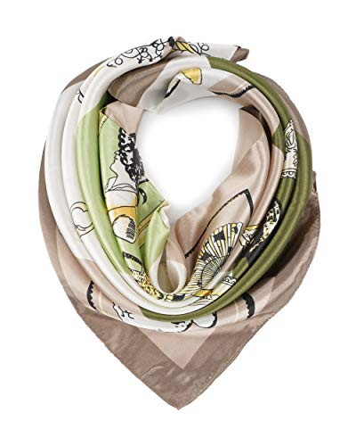 YOUR SMILE Silk Feeling Scarf Women's Fashion Pattern Beige Chain Large Square Satin Headscarf ()