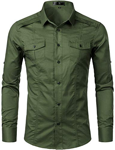 - ZEROYAA Mens Tactical Style Long Sleeve Casual Cargo Twill Work Shirts with Pocket ZGCL02-Army Green X-Large