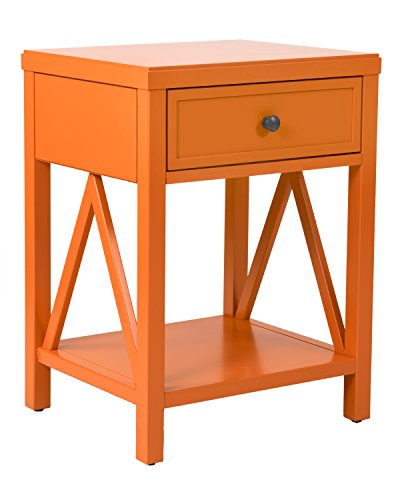 "East At Main Wilcox Acacia Wood Square Accent Table, Orange, (15"" L x 17"" W x 23"" H) - Dimensions: (15"" L x 17"" W x 23"" H) Hand-Crafted using Acacia and Engineered Wood This Transitional style accent table will accent any room - living-room-furniture, living-room, end-tables - 41FEaSoCaUL -"