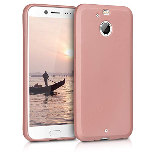 kwmobile TPU Silicone Case for HTC 10 evo - Soft Flexible Shock Absorbent Protective Phone Cover - Metallic Rose Gold