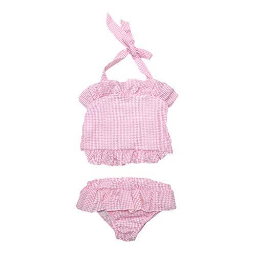 MONOBLANKS Cute Baby Girls Ruffle Seersucker Swimwear Two Piece Bikini Swimsuit Can be Monogrammed (2/3t, Red(Two Piece))