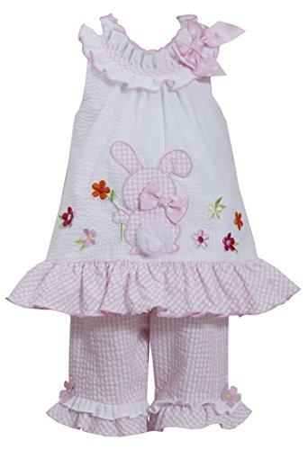 (Bonnie Jean Girls Bunny Ruffle Easter Dress Capri Outfit, 4T)
