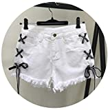 Women Tassel Denim Jeans Shorts Vintage High Waist Casual Shorts Jeans Girl Lace up Shorts Plus Size S-XL,X-Large,D102h