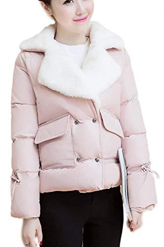 Pelliccia Donna Coat Battercake Lunghe Tempo Donne Transizione Outerwear Corto Fashion Libero Giubotto Invernali Calda Casuale Pink Maniche Elegante Addensare Sintetica w0UwF5rq