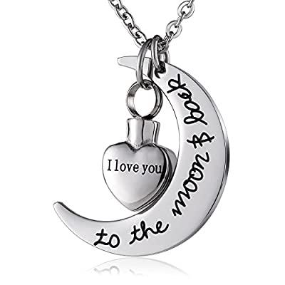 "new Beydodo Custom Pendant ""I Love You To The Moon And Back"" Heart Cremation Urn Necklace Memorial Keepsake"