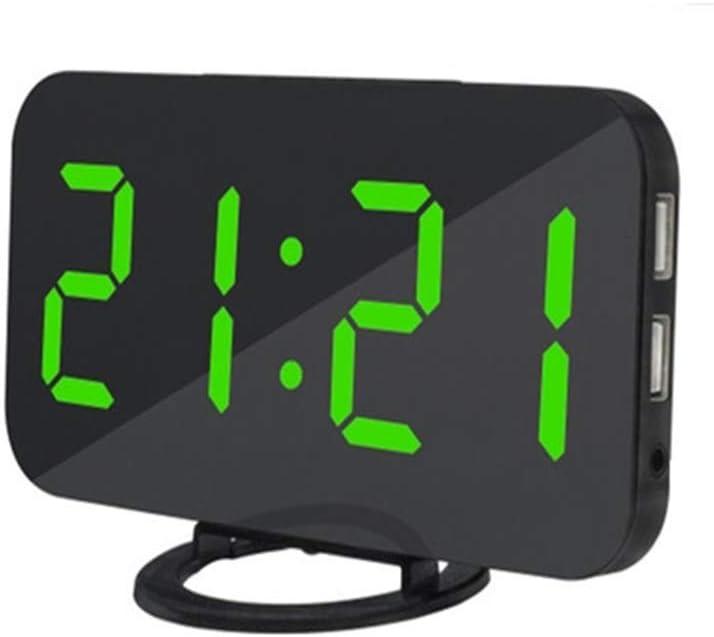 L.HPT Home Multifunction Led Mirror Alarm Clock, Digital Art Wall Clock, Modern Port Electronic Mirror Simulation Snooze Table Clock Gift