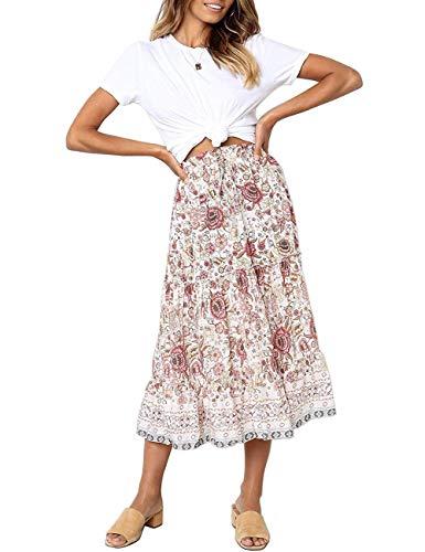 MEROKEETY Women's Boho Floral Print Elastic High Waist Pleated A Line Midi Skirt with Pockets White