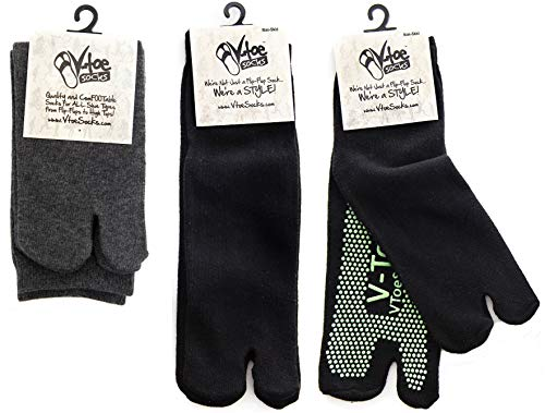 3 Pairs - V-Toe Flip Flop Tabi Socks Black Non-skid And Gray Solid