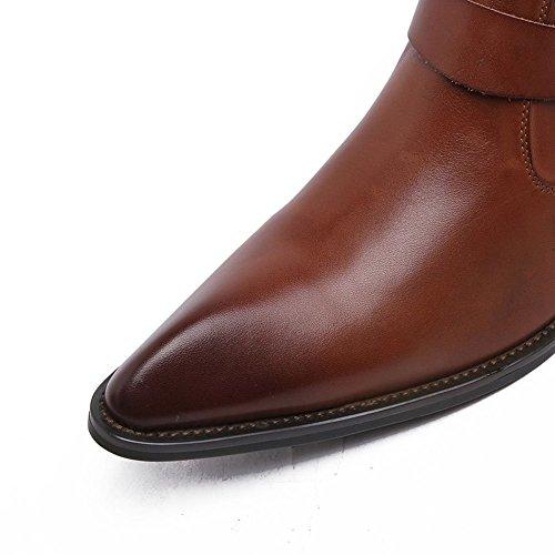 Pelle Classici Stivaletti Cowboy Wuf Da In Uomo Marrone Alla Caviglia IP7qBA