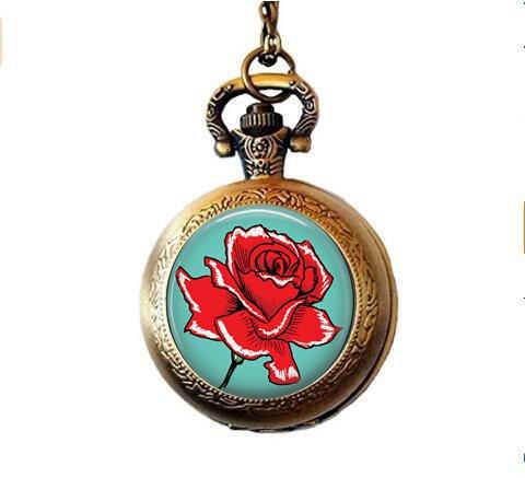 lukuhan Red Rose on Turquoise Blue - Retro Rose Pocket Watch ()