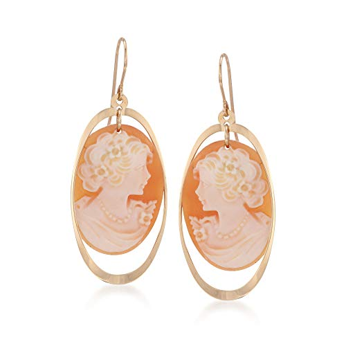 Ross-Simons Shell Cameo and Open Oval Drop Earrings in 14kt Yellow Gold