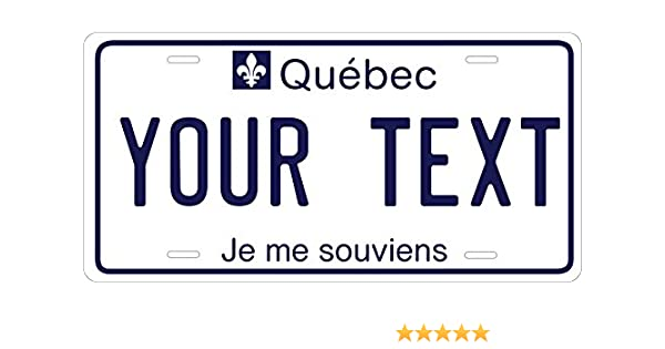 vanity plate Canadian Canada customizable auto QUEBEC LICENSE PLATE