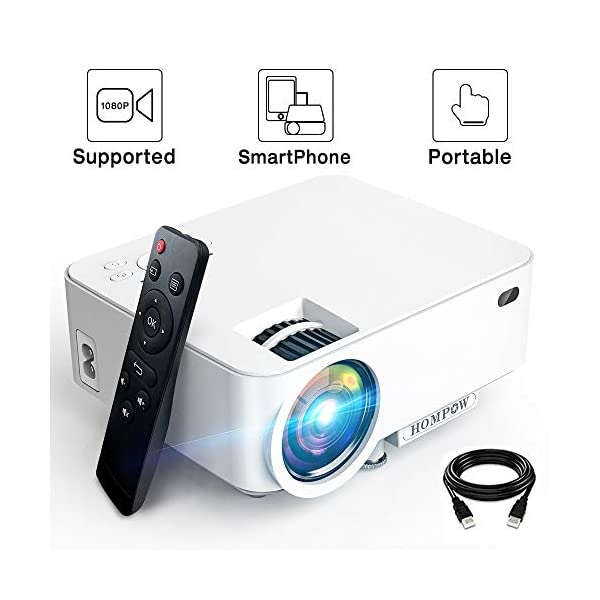 Mini Projector – 2400Lux Hompow Smartphone Portable Video Projector 1080P Supported...