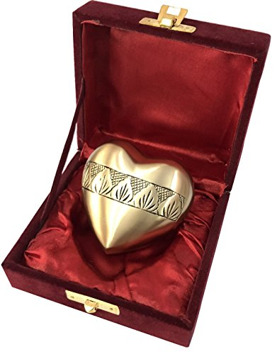 Cloisonne Keepsake - Brass Heart Funeral Cremation Urn -Cloisonne Heart Bronze Keepsake Urns - Extra Small - Holds Up To 3 Cubic Inches of Ashes - Cloisonne Blue Cremation Urn for Ashes (Carving Brass Antique)