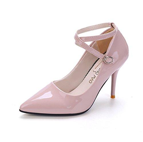 LBDX Primavera y Otoño Zapatos de Tacón Alto con Punta Estrecha Tacón Alto Delgado Correas de Tobillo Calzado Femenino Zapatos de Mujer Pink
