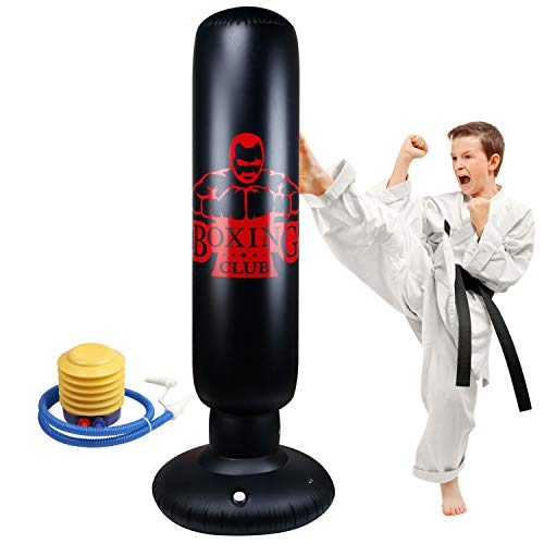 Locsee Punching Bag for Kids, Inflatable Freestanding Bop Bag for Adults and Kids Fitness Boxing Target Bag with Stand…