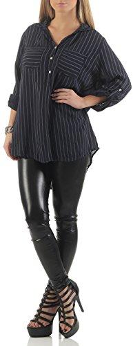 malito Blusa Racha-Patrón 3/4 Túnica tira de Botones 9020 Mujer Talla Única azul oscuro