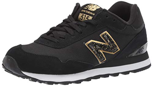 New Balance Women's 515v1 Sneaker, Black/Gold Metallic, 8 W US