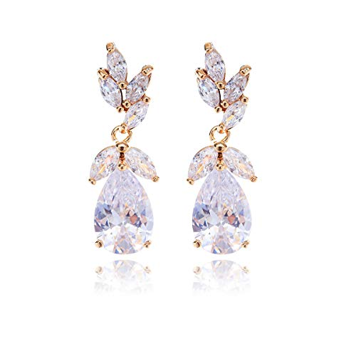 Women's Cubic Zirconia Bridal Earring - Elegant Gold Plated Teardrop Cluster Floral Leaf CZ Crystal Rhinestone Wedding Earring for Bride Bridesmaids Mother of Bride Party Prom