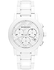 Burberry White Ceramic Chronograph Womens Watch BU9080