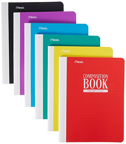 Mead Composition Books/Notebooks, Wide Ruled Paper, 70 Sheets, Plastic, Assorted Colors, 6 Pack -