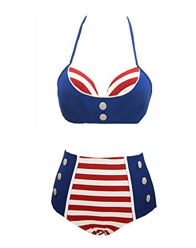 BSLINGERIE Vintage Polka Dot Pattern High-waisted Bikini Swimwear (L, Blue Red Striped)