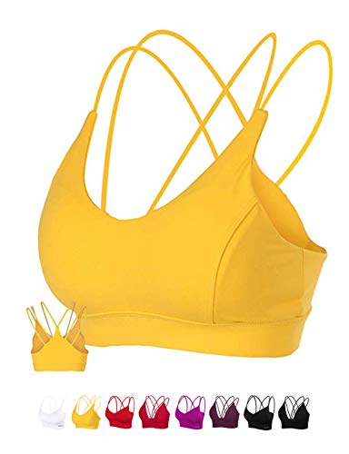 (MotoRun Womens Push-Up Padded Strappy Sports Bra Cross Back Wirefree Fitness Yoga Top Lemon Yellow)