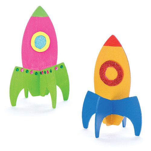 Baker Ross Stand-up Wooden Rockets for Kids Perfect for Childrens Arts, Crafts and Decorating for Boys and Girls (Pack of 6)