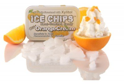 ICE CHIPS Orange Cream Xylitol Mints 6 Single Tins by Ice Chip Candy