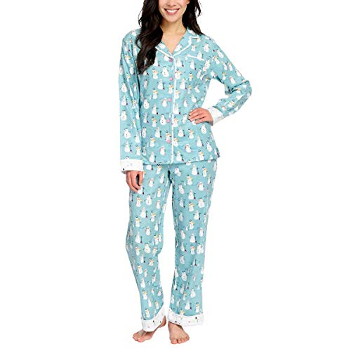 munki munki Pajamas for Women Classic Flannel PJ Set Long Sleeve (Snowman Turquoise, Medium) (Pajama Set Snowman)