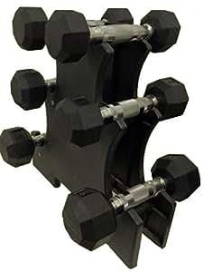 Ader Rubber Dumbbells 5, 8,12lb Set w/ Rack