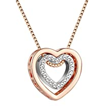 Murtoo Gifts Double Heart Necklace 4 colors Decorated with Swarovski Element Crystal, You are always in my heart Double heart Hollow-out Necklace