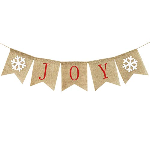 Burlap Joy Banner | Christmas Bunting Banner | Rustic Christmas Decorations | Holiday Banner| Holiday Decorations| Home Mantle Fireplace Decor