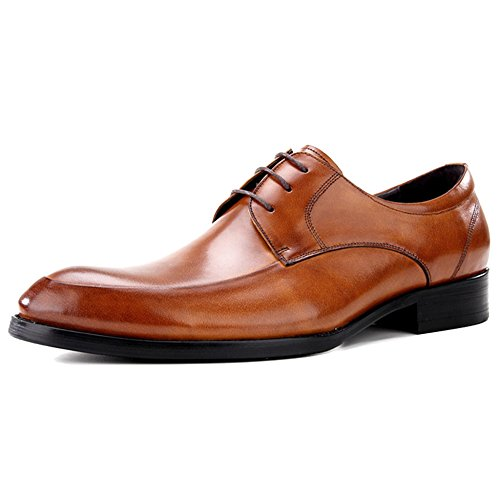 MERRYHE Punta Di Piedi In Pizzo Ups Derby In Vera Pelle Business Formal Dress Oxford Scarpe Da Uomo Wedding Party Work Brown