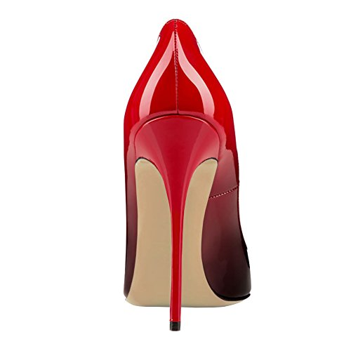 MERUMOTE Womens Pointed Toe Stiletto High Heel Patent Leather Dress Party Usual Pumps Red Black Z2AOg