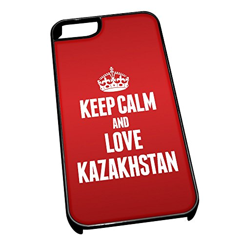 Nero cover per iPhone 5/5S 2217 Red Keep Calm and Love Kazakhstan