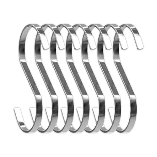 SumDirect 10Pcs 3.9 Inches Flat S Shape Heavy-Duty Chrome Finish Hanging Hooks for Scarf, Apparel, Kitchenware, Utensils, Plants, Towels, Gardening Tools, Clothes(Silver)