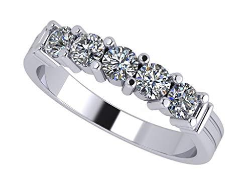 Prong Shared (NANA Sterling Silver Shared Prongs 5 stone Swarovski Zirconia Simulated Diamond Band - Size 5.5)