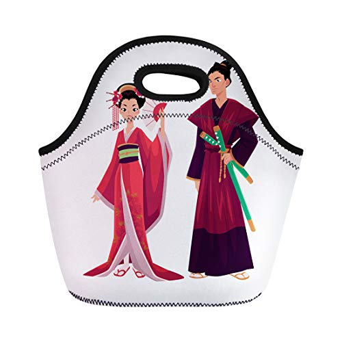 Semtomn Lunch Tote Bag Japanese Geisha and Samurai in Traditional Kimono Symbols Reusable Neoprene Insulated Thermal Outdoor Picnic Lunchbox for Men -