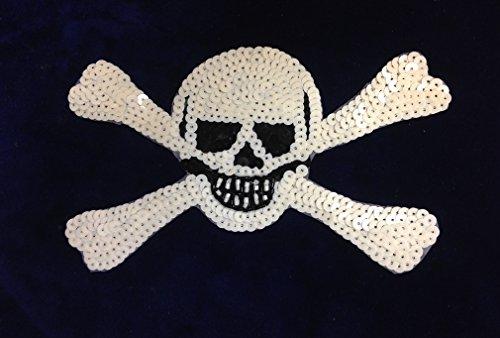 [해외]해골 크로스 애플리케이트 미소 패치 접착제 또는 봉합 순서/Skull Cross Applique Smile Patch Glue or Sew Sequence