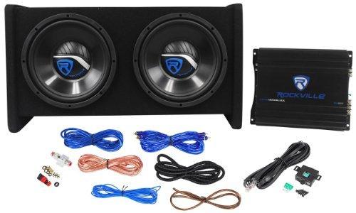 """Rockville RV10.2A 1000w Dual 10"""" Car Subwoofer Enclosure+Mono Amplifier+Amp Kit"""