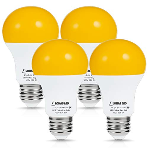 LOHAS Amber Light Sensor Dusk to Dawn LED Bulbs, Bug Light Bulb Yellow LED A19, Porch Lights Security Outdoor, Smart Sensor Lighting 2000K, 40W Amber LED Auto on/Off, Bugs Free E26, 500 Lumens(4PACK)