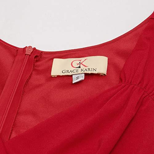 GRACE-KARIN-Vestido-Vintage-para-Mujeres-sin-Mangas-Cuello-V-de-Fiesta-Coctel-Rockabilly-Clasico