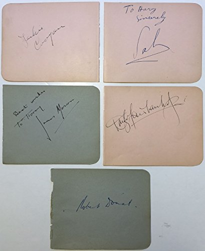 (Five vintage signed album pages)