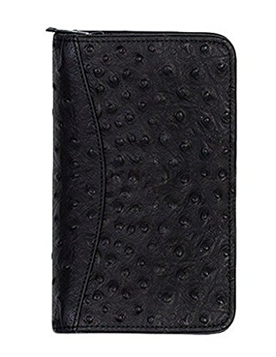 Scully Leather Zip Pocket Agenda Ostrich 5008Z Organizer,Black