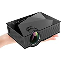 SUPOW HD Mini Projectors UC46 1200 Lumens Portable Multimedia LED Projection with USB VGA HDMI SD Card AV WiFi for Party,Home Entertainment, 20000 Hours Led Life with Remote