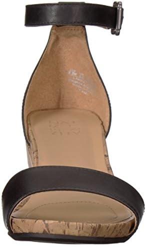 Naturalizer Women's CAMI Wedge Sandal, Black, 4.5 M US